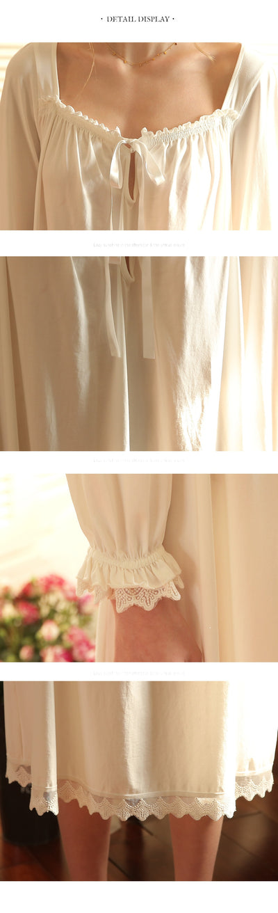 Pink White Nightgown Sleepwear Women Spring Autumn Long Sleeve Nightdress Loose Women Princess Nightgown Comfortable
