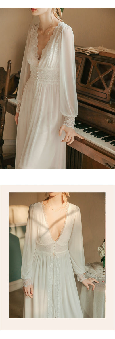 Vintage Robe Lace Long Robe Set Women Wonderful Nightgown Romantic Sleepwear Robes  Bridal Dressing Gown