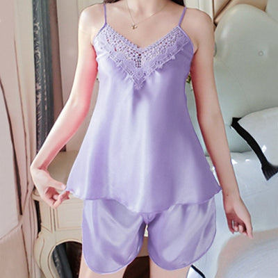 2pcs/set Pajamas Sets For Women Sexy Lingerie Pajamas Sleeveless Nightwear Sleepwear Sling+Shorts Ladies Homewear #F