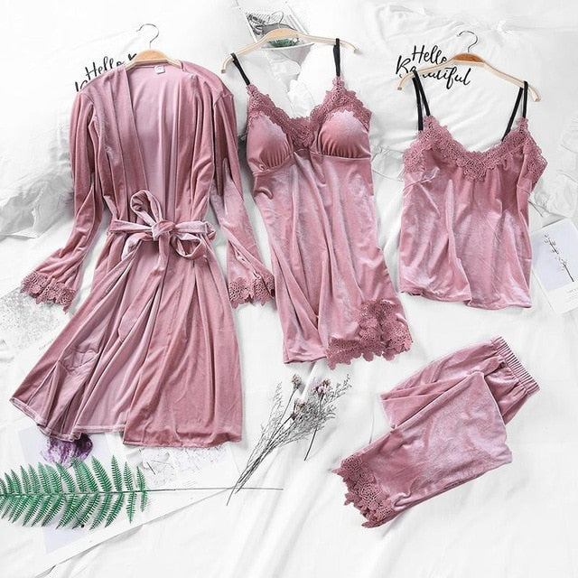 Pink Velvet Women Pajamas Sets Strap Top&Pants&Robe&Shorts Suit Velour Nightwear Kimono Robe Bathrobe Gown Home Wear M L XL