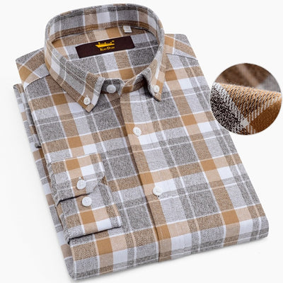 Men's 100% Cotton Brushed Flannel Plaid Checkered Shirts Casual Long Sleeve Standard-fit Button Down Collared Gingham Tops Shirt