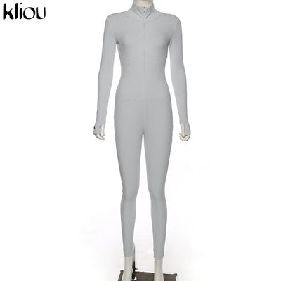 Kliou solid turtleneck full sleeve jumpsuits 2019 autumn winter women fitness slim rompers zipper long bodysuit skinny jogger