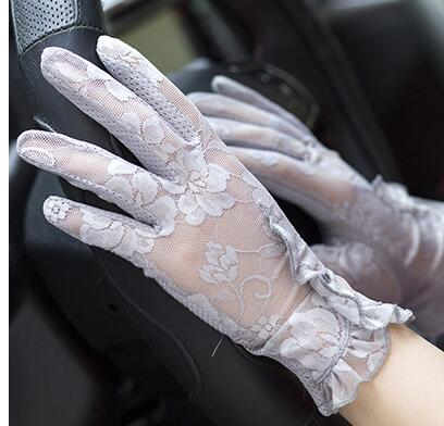 Spring and summer women's Lace sunscreen gloves lady's anti-uv slip-resistant driving gloves girls sexy lace gloves R002