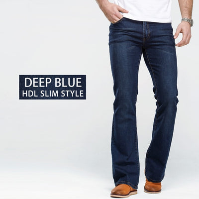 Mens Boot Cut Jeans Slightly Flared Slim Fit Famous Brand Blue Black jeans Designer Classic Male Stretch Denim jeans
