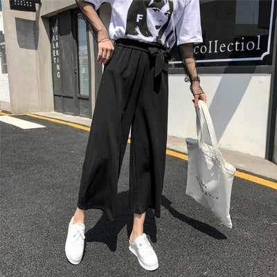 2020 Women Casual Loose Wide Leg Pant Womens Elegant Fashion Preppy Style Trousers Female Pure Color Females New Palazzo Pants