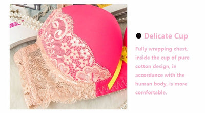 Japanese Style Lace Bow Decorating Sexy Bra Set Cotton Cup Adjustment Deep V Lolita Cute Girls Bras Lingerie Underwear Women