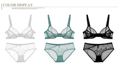 E-Bloom Breathable Lace Sexy Bra Set Ultra-thin Transparent Cup Underwear Women Cotton Crotch Matching Panty Intimates Lingerie