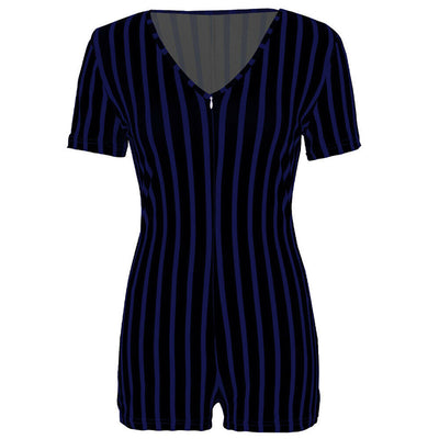 2020 Sexy Women Deep V-neck Bodycon Jumpsuit Romper Sleepwear Short Sleeve Striped Summer Jumpsuit Short Romper Bodysuit Leotard