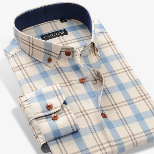 Men's 100% Cotton Long Sleeve Contrast Plaid Checkered Shirt Pocket-less Design Casual Standard-fit Button Down Gingham Shirts