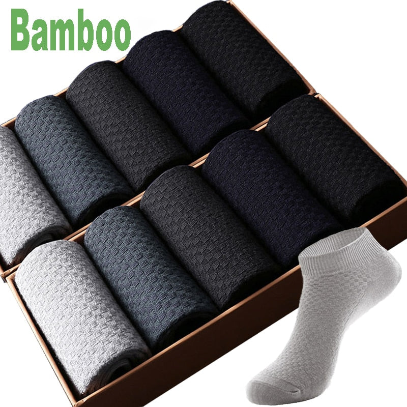 10 Pairs/Lot Hot Bamboo Fiber mens ankle socks Business Short Black Male Meias Socks Breathable Men sokken Clothes Size39-44