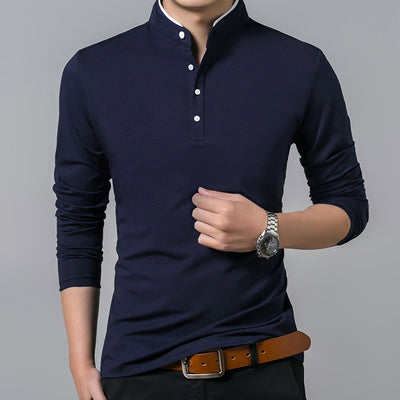 Liseaven T-Shirt Men Cotton T Shirt Full Sleeve tshirt Men Solid Color T-shirts tops&tees Mandarin Collar Long Shirt