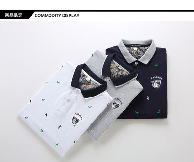 Fashion Summer Short Sleeve Polo Shirt Men Cotton Print Slim Casual Polos Breathable Embroidery Casual Shirt Mens Clothing M-4XL