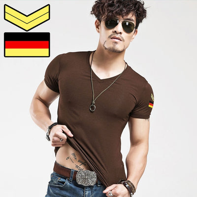 2020 Man military T shirt Men's V-Neck Slim Fit Short Sleeved T-Shirts Fashion Casual Cotton Tee Shirt For Men Plus size to 5XL