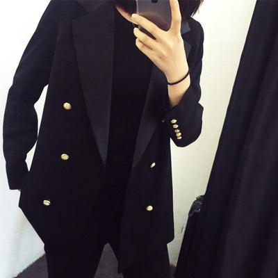 High quality professional women's suit large size Casual double-breasted temperament black ladies jacket Trendy office blazer