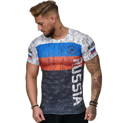 2019 Summer Russian flag men's casual fashion T-shirt round neck cool and lightweight man's T-shirt Free shipping