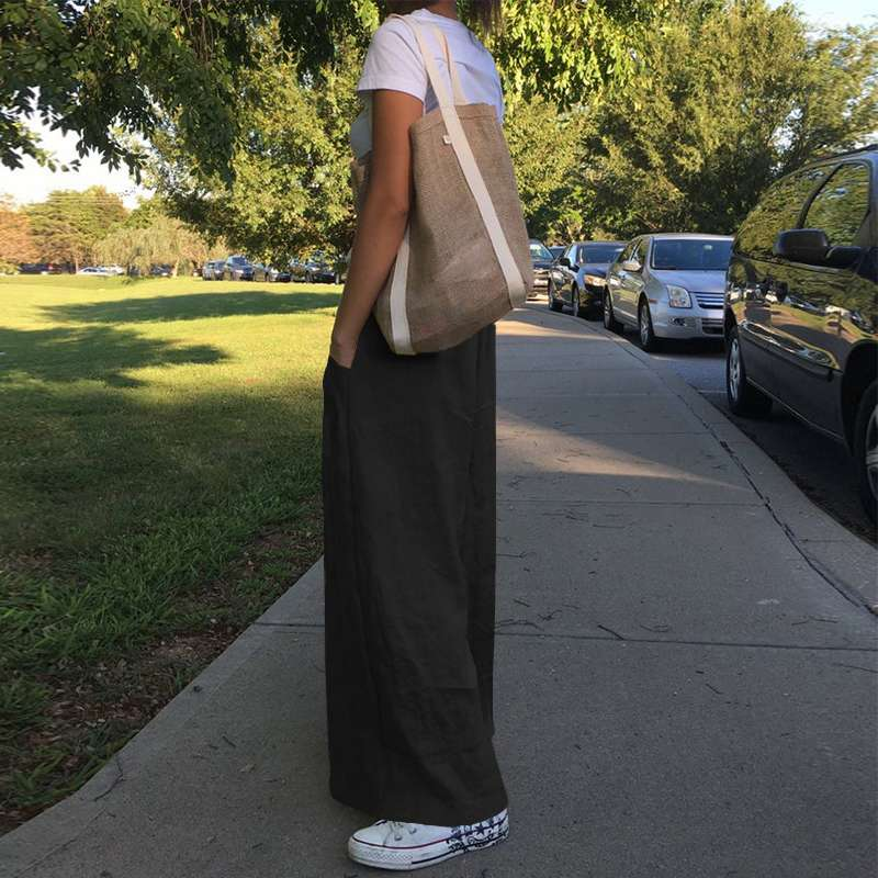 Celmia 2020 Fashion Casual Solid Wide Leg Pants Women High Waist Loose Palazzo Retro Linen Pants Office Ladies Trousers Pantalon