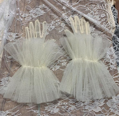 Women's elegant white color mesh glove female spring summer sunscreen lace glove R1426