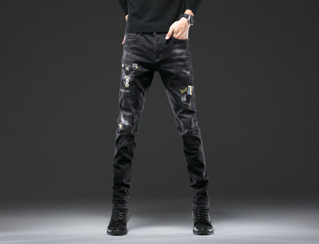 Embroidery Black Men Jeans Fantastic Patterns Quality Brand Slim Elastic Comfortable Hiphop Pants Multiple Styles Trousers