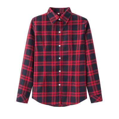 2020 Spring New Fashion Casual Lapel Plus Size Blouses Women Plaid Shirt Checks Flannel Shirts Female Long Sleeve Tops Blouse