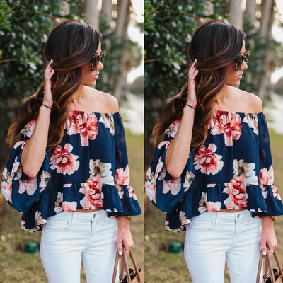 Fashion Sexy Women Print Tops Off The Shoulder Casual Loose Long Sleeve Blouses Tops Blouse