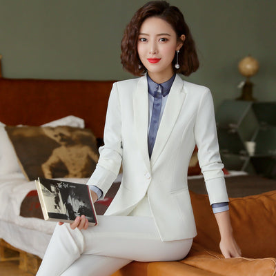 High quality professional women's suits pants suit New slim large size white blazer Casual high waist skirt suit high quality