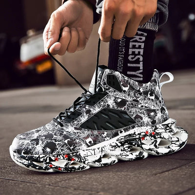 New Men Hip Hop Street Running Shoes Graffiti High Top Chunky Sneakers Blade Warrior Cushioning Sport Zapatillas Jogging Shoes