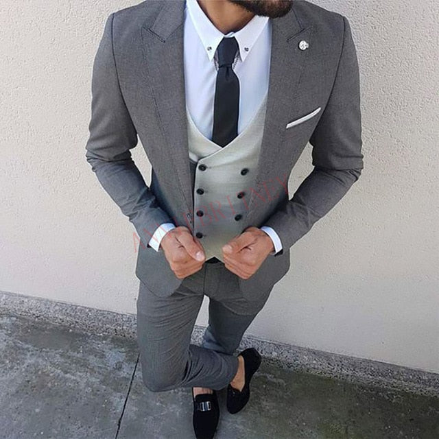 2020 Fashion Lattice Men's Suit Slim Fit Prom Wedding Suits for Men Groom Tuxedo Jacket Pants Set Custom White Casual Men Blazer
