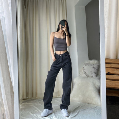 OkuohaoJEANS 2020 New Light Blue Washed Retro High Waist Straight Overalls Slim Long Loose Wide Leg Jeans Women