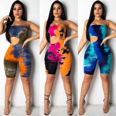 New Strapless Off Shoulder Jumpsuit Women Tie Dyeing Sexy Bandeau Bodysuit Jumpsuits Rompers 2019 Summer Colorful Holes Bodysuit