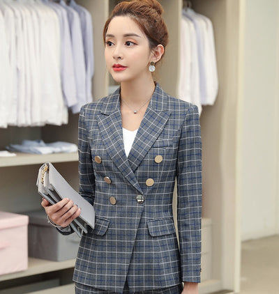 High quality professional women's suits large size S-4XL 2019 autumn and winter new slim full-sleeve blazer Slim trouser suit