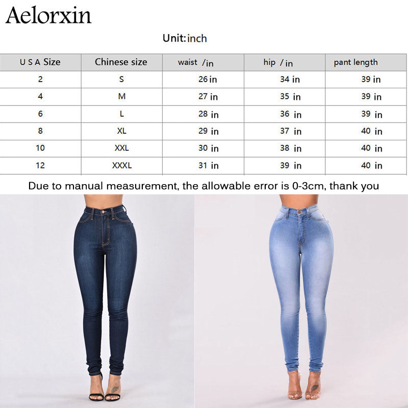 2020 Slim Jeans for Women Skinny High Waist Jeans Woman Blue Denim Pencil Pants Stretch Waist Women Jeans Pants Calca Feminina