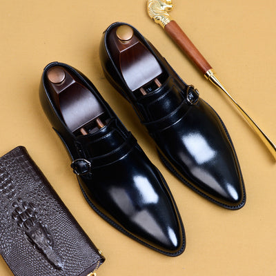 QYFCIOUFU 2019 New Men Genuine Leather Shoes Pointed Toe Man Flat Classic Men Dress Shoes Buckle Italian Formal Oxford US 11.5