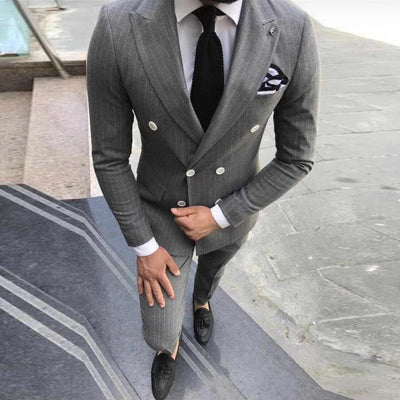 2020 New Striped Men Suits for Wedding Man Suit Slim Fit Prom Party Groom Tuxedo Gray Double Breasted Blazer Pants 2 Pieces Set