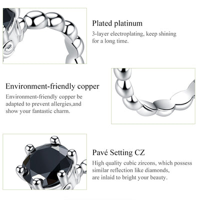 bamoer 8 STYLE BRAIDED PAVE LEAVES My Princess Queen Crown SILVER Color RING Twist Of Fate Stackable Ring PA7222