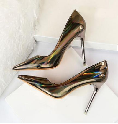 Fluorescent Silver  Heels Pumps Iridescent Pointed Toe Shallow Dress Shoes Patent Leather Wedding Shoes Bride