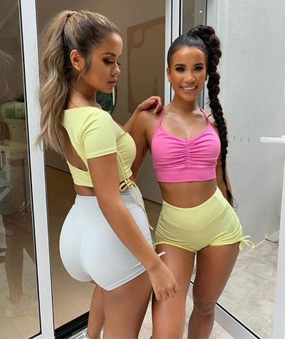2020 Yoga Set Women Sport Suit Women Fitness Clothing Vest Drawstring Hot Pants 2-piece Suit Yoga Suit Workout Clothes For Women