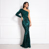 One Shoulder Luxury Stretchy Silver Sequin Night Gown Party Dress Bodycon Floor Length Backless Tight Female Mermaid Dress
