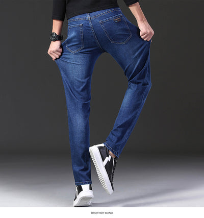 2020 Autumn Winter New Men's Stretch-fit Jeans Business Casual Classic Style Fashion Denim Trousers Male Black Blue Gray Pants