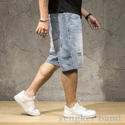 Men's denim shorts light men's summer large size men's loose thin tide hole oversized five-point men shorts cotton big size men