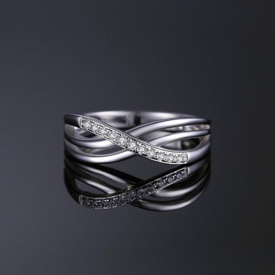 JPalace Infinity Wedding Rings 925 Sterling Silver Rings for Women Stackable Anniversary Ring Eternity Band Silver 925 Jewelry