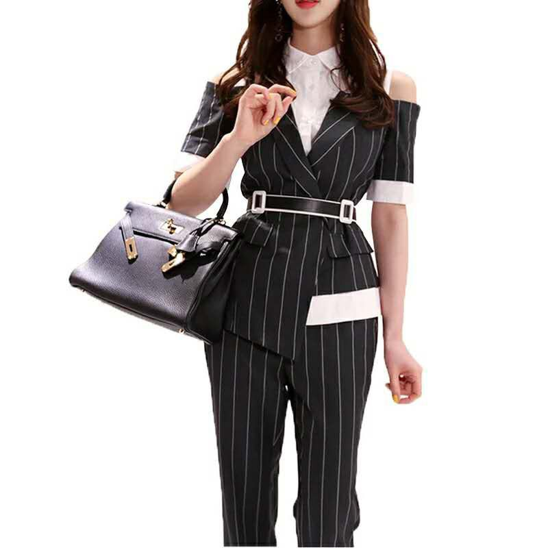 Women's pantsuit Summer black Notched 2 piece set Suits Broadcloth ladies Office Blazer Suit Trouser