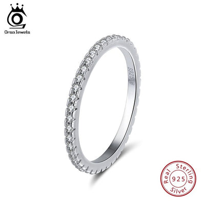 ORSA JEWELS Real 925 Sterling Silver Women Rings AAA Cubic Zircon Fashion Wedding Ring Jewelry Round Finger Ring For Ladies SR71