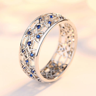 Beiver Cubic Zirconia Ring for Women Hollow Two-tone Ring White Gold Jewelry Fashion Popular Rhinestone Wedding Rings for Femal