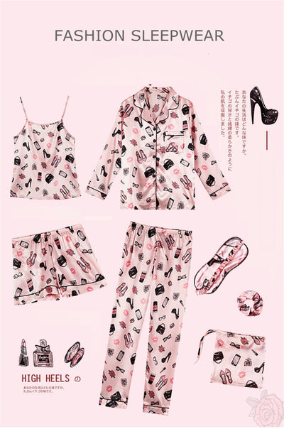 JULY'S SONG 2020 New Fashion 7 Pieces Pajamas Sets  Faux Silk Stain Cute Pattern Pyjama Sexy Sling Shorts  Long Sleeve Sleepwear