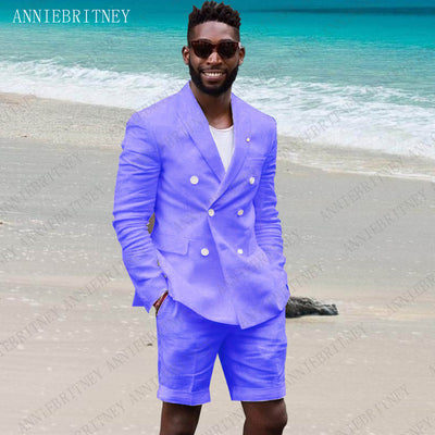 ANNIEBRITNEY Summer Linen Suit Men 2019 Man Blazer Hot Pink Slim Fit Groom Wedding Tuxedos Jacket with Short Pants Set 2 Pieces