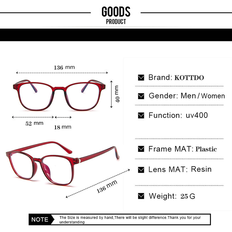 KOTTDO Retro Mens Glasses Frame Fashion Computer Eyeglasses Frame Women Anti-blue Light Transparent Clear Pink Plastic Frame
