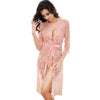 Women Robe Sexy Lace Bridesmaid Robes Long Sleeve Bathrobes Femme Nightie Gown Kimono Women's Pajamas Wedding Sleepwear PINK