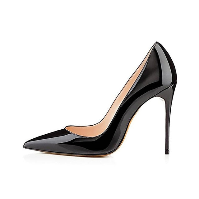 Women Pumps Brand High Heels Black Patent Leather Pointed Toe Sexy Stiletto