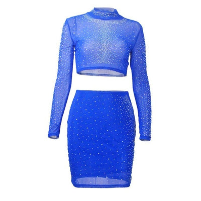 Bonnie Forest Glam Silver Rhinestone Studded Skirt Set Womens Sexy Hollow Out Sequins Mesh Embellished Mini Dress Club Overalls
