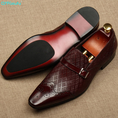 QYFCIOUFU Flat Italy Handmade formal shoes men Fashion Party Wedding Office Male Dress Shoe Genuine Leather oxford shoes for men